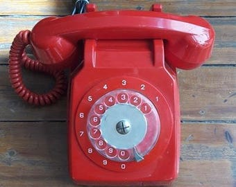 Vintage Red Rotary Phone