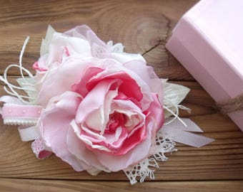 Brooch vintage style,brooch rose,brooch flower,flowers fabric,peach flowers,summer brooch,romantic style,delicate flower,bridal hair pieces