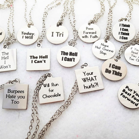 Fitness Jewelry, CrossFit Necklace, Sports Charms, Workout Gifts, Quote Word Charm, Inspirational Motivational Quotes, Gifts for Mom Coach
