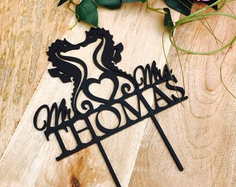 Seahorse Cake Topper Surname Personalised Wedding Cake Topper Wedding Cake Engagement Cake Topper Cake Decoration Cake Decorating Mr and Mrs