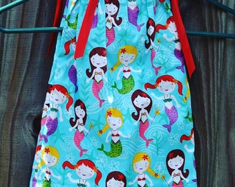 ON SALE***Mermaid 12 month Pillowcase dress and hair accessory (Normally 12.00)mermaid dress, mermaid, summer dress, peasant dress