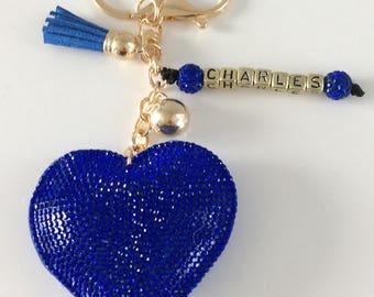 Beautiful blue Rhinestone Heart Keychain personalize with name