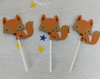 Fox Cupcake Toppers, Woodland Cupcake Toppers, Wildlife Party, Baby Shower