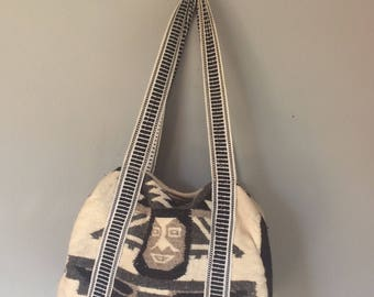 vintage navajo duffle bag, cotton, black, grey white, southwestern styled duffle bag, Mexican blanket