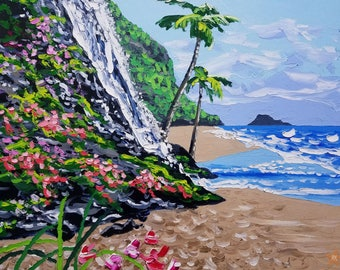Waterfall palette knife oil painting, modern wall art decor, abstract beach art, by Ryan Kimba