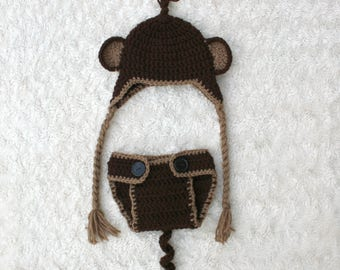 Monkey Crochet Hat and Diaper Cover Set