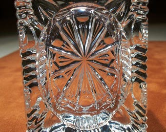 Ice Glass Pressed Glass Ashtray! Small Ashtray, Clear Glass, Ice Glass, Four Rests, Ribbed Sides, Thick Glass, Tabbed Indents, Starburst