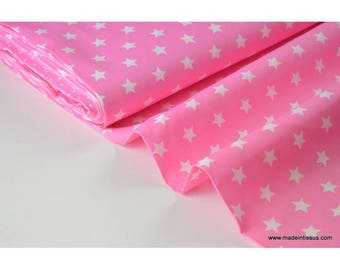 Tissu popeline coton rose étoiles blanches