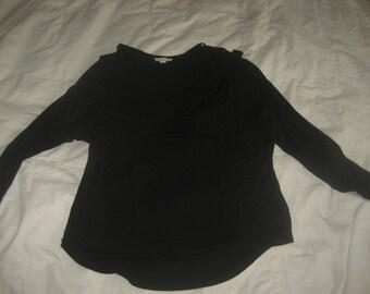 Cute Black Soft Tshirt Material w/Peekaboo Cut Out Long Sleeved Shirt