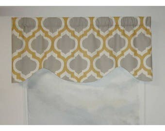 Contemporary Gray and Gold Medallion Valance