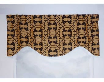 Brown and Gold Faux Silk and Velveteen Valance