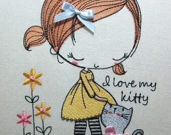 Machine Embroidery Design - I love my kitty  5*7, 6*8, 6*10