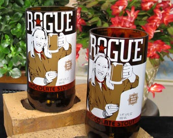 beer tasting rogue brewery chocolate stout recycled beer bottle set best beer gift beer glasses beer lovers beer valentines gift for cousin