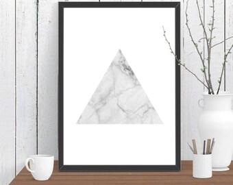 Triangle Marble Print, Wall Art, Room Decor, Modern, Minimalist, Poster A4 A3 A2 8x10 11x14 12x18 16x20