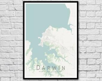 Darwin NT City Street Map Print | Wall Art Poster | Wall decor | A3 A2