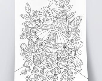 Adult Coloring Page Magic Mushrooms Doodle Art DIY Poster Printable Pdf