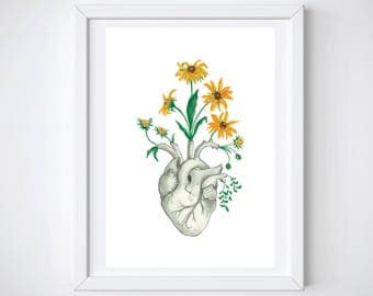 Anatomy Art Human Heart Print | Floral Gift Flower Poster | Nature Sunflower Unique Blossom | Oddity Curiocity Freak Creepy Fantasy Goth