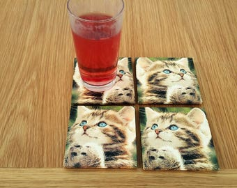 cat coasters - cat home decor - hostess gift - cute coasters - tabby cat  - vet gifts - best selling items