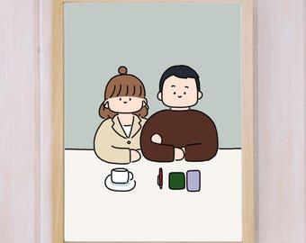 Custom couple portrait, waist up couple portrait, waist up drawing, anniversary gifts, valentine gifts, miyopaper