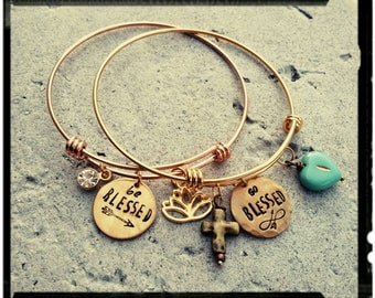 So Blessed/Be Blessed- Stamped Charm Bangle//Turquoise Heart Bead//Hammered Cross Charm - Golden Stainless Steel - Gift/Mixed Metal