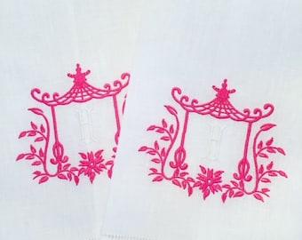 Hemstitched Linen Pagoda Monogrammed Guest Towel