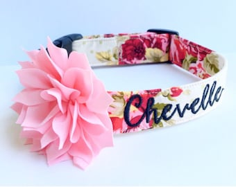 Floral Dog Collar, Embroidered Dog Collar, Personalized Dog Collar, Floral Dog Collar, Collar, rose Collar, Flower dog collar