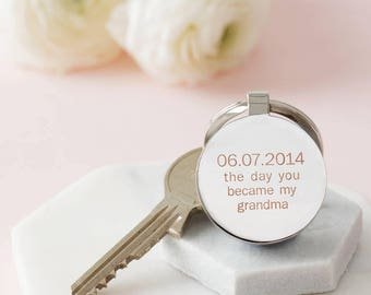 Personalised Day You Became My Grandma Keyring