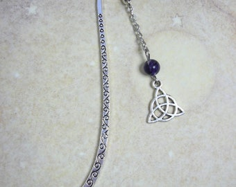 Celtic Bookmark with Amethyst Gemstone - Triquetra Celtic Knot Silver-tone Gothic Goth Pagan Celt Gothic