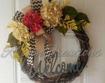 Grapevine Flower Welcome Wreath