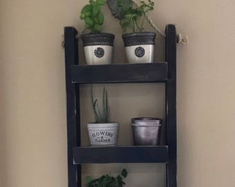 Decorative Ladder Shelf Plant Stand | Indoor Hanging Wall Planter | Rustic  Vertical Herb Garden |