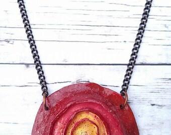 Polymer Clay pendant,Flower pendant,Handmade jewelry