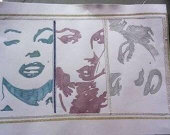 Marylin monroe drawing three sided