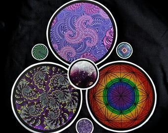 Psychedelic art sticker pack 7 stickers original artworks by Adrienne Piscopo pack 2 fractal art spirals seed of life digital art spiritual