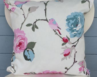 Pretty Clarke and Clarke Agatha Cushion, Blue and Pink Floral Pattern Pillow, Bird Home Decor, Country Style Christmas Gift