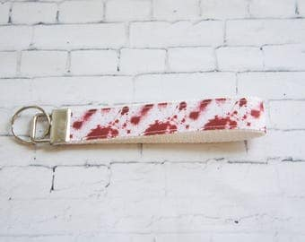BLOOD SPLATTER key Fob, wristlet keychain, teen key FOB, blood ribbons, Dexter inspiration.