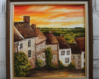 Framed Oil Painting Country Landscape Field Canvas Art Original Art Framed Art England Village Rustic Painting English Countryside