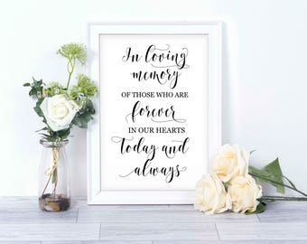 In Loving Memory wedding sign/ instant download printable/ wedding printable/ memory table display