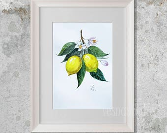 Lemon Watercolor Painting, bright yellow lemons Lemon painting Fruits wall art Botanical art Kitchen art decor Botanical wall art