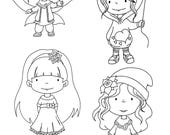 Digital stamps. Set of 4 cute, digital stamps. Black & white images to colour.
