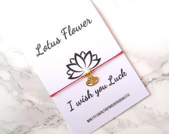 Lotus Flower bracelet - red string luck bracelet - karma minimalist bracelet - make a wish bracelet - unisex bracelet
