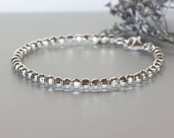 Silver Beads Bangle- Laser Cut Bangle-Gift Jewelry-Delicate Bracelet- Faceted Beads-Bridesmaids Gift- Silver Bracelet-Hand Jewelry -BS34