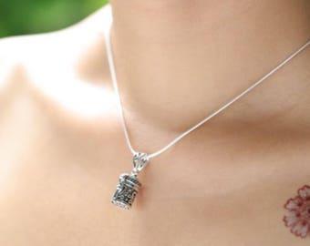 Tibetan Prayer Box Charm, Bohemian Jewelry, Simple Silver Neck Charm, Oxidized Silver Pendant, Minimalist Necklace, Gifting Charm, P75