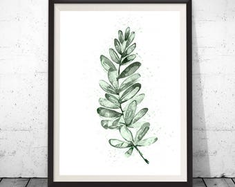 Botanical fern leaf nature print, an illustration in watercolour, Poster of green fern, living room decor, Printable art, Boho wall art