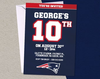 12 New England Patriots Football Personalised Birthday Party A6 Invitations with/without envelopes