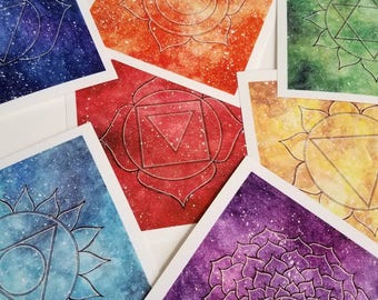 Chakras Art Print - Chakras Art - Chakra Prints - Yoga Studio Art - Meditation Art - Chakra Set - Chakra Art Reproductions - Chakra Painting