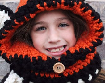 Fox hooded cowl, crocheted