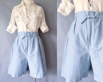 Vintage navy stripe high waist shorts made in USA minimalist women's size S/M/L