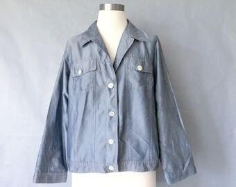 vintage silk jacket/ silk top/ silk shirt/ silk blouse/ silk blazer laura ashley women's size S/M
