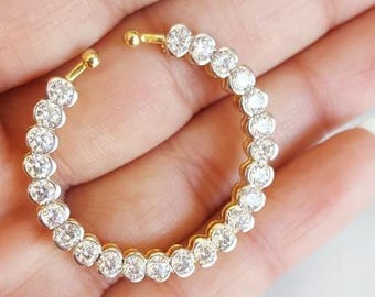 Sparkly Cubic Zirconia and Gold Nose Ring Nath for Indian Wedding Outfit, Nose Ring for Non-Pierced Nose, Indian Jewelry, Bridesmaid Gift