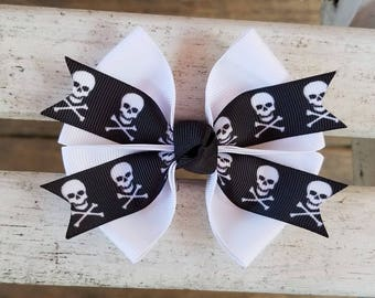 SKULL Heads Hair Bow (4 inch)